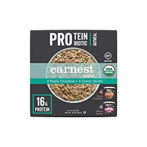 Earnest Eats Organic Protein & Probiotic Variety Pack-4 Mighty Maple 2.5 oz Cups and 4 Champion Cherry Vanilla 2.5 oz Cups
