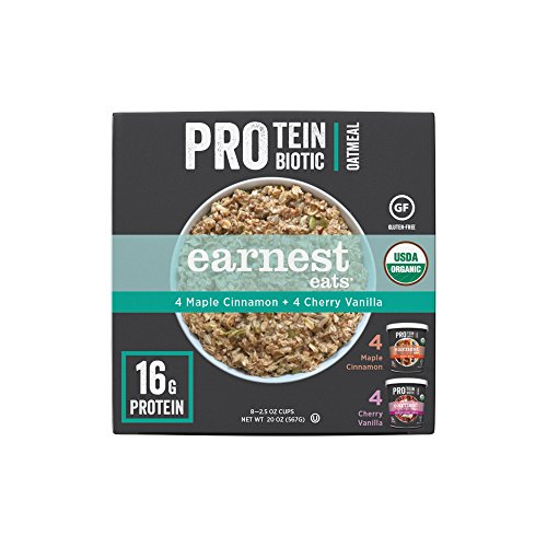 Earnest Eats Organic Protein & Probiotic Variety Pack-4 Mighty Maple 2.5 oz Cups and 4 Champion Cherry Vanilla 2.5 oz (Mega Pack Vanilla Flavor)
