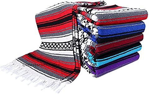 Heavyweight Premium Yoga Blanket Throw Blanket in Classic Mexican Falsa Pattern. Woven Acrylic, 3.4 lb blanket measures 57