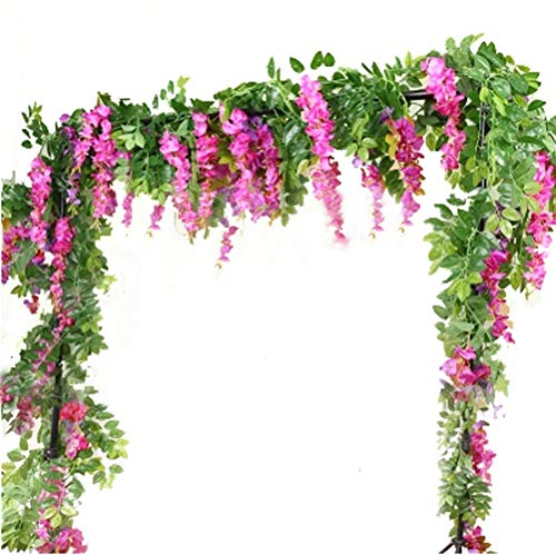 6.6ft Artificial Flowers Silk Wisteria flowers Ivy Vine Green Leaf Hanging Vine Garland for Wedding Party Home Garden Wall Decoration Pack of 2, RED PURPLE