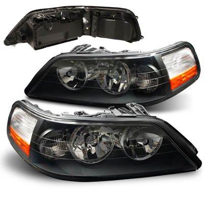 Amazon Com 03 04 Lincoln Town Car Euro Black Headlights Automotive