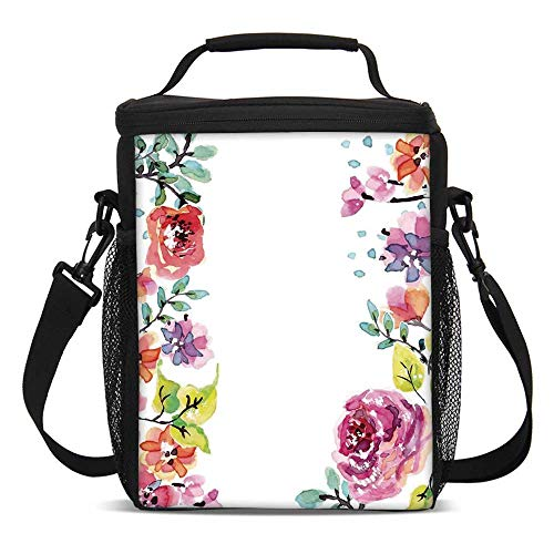 Watercolor Flower Fashionable Lunch Bag,Decorative Framework With Summer Roses and Natural Borders Illustration for Travel Picnic,One size