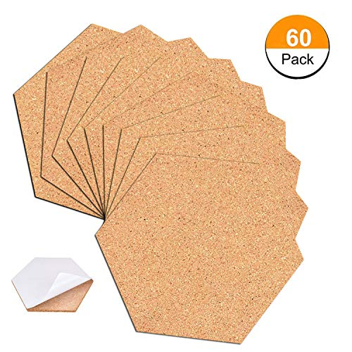 60 Pack Hexagon Cork Coasters Cork Squares Cork Board Tiles with Full Sticky Back,Mini Wall Bulletin Boards, for Pictures,Photos,Notes,Goals,Drawing,Painting-Bonus