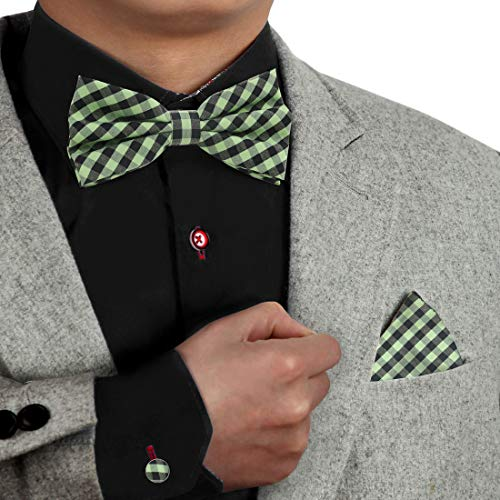 - Green Pre-Tied Bowtie Set For Men 100% Polyster Plaid Bowtie And Hankies Cuff-Link Set For Men Dan Smith Dbc3C02A Green Yellow Black