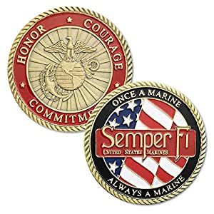 Strugglejewelry US Marine Corps Challenge Coins Semper Fidelis Once A Marine Always A Marine Honor Courage Commitment USMC Military Coin from Struggle-Jewelry