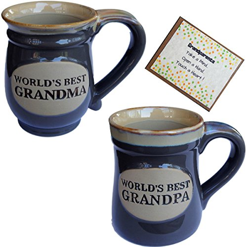 (Grandparents Coffee Cup Novelty Gift and card from Grandchild for Grandma and Grandpa Couples Best ... (gray, 2))