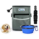 Pawaboo Dog Treat Training Pouch Bag & Collapsible Silicone Food Water Bowl, with Adjustable Strap, Hands-Free Storage for Treats and Toys, Perfect for Pet Puppy Training Travel Doggie Walking, Gray
