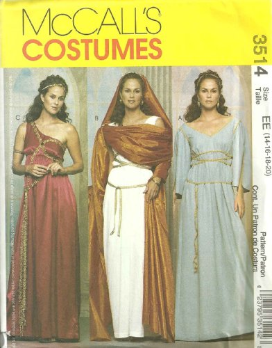 OOP McCalls Costume Pattern 3514. Misses Szs 14;16;18;20 Greek & Roman (Greek Costume Patterns)