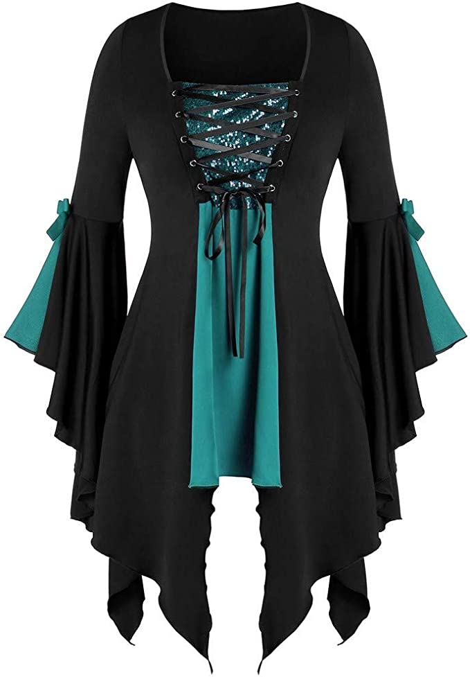 Kinlene Womens Halloween Festival Costume Sale Plus Size Long Sleeve Tops Sequined Blouse Lace Up Gothic Tunic Tee