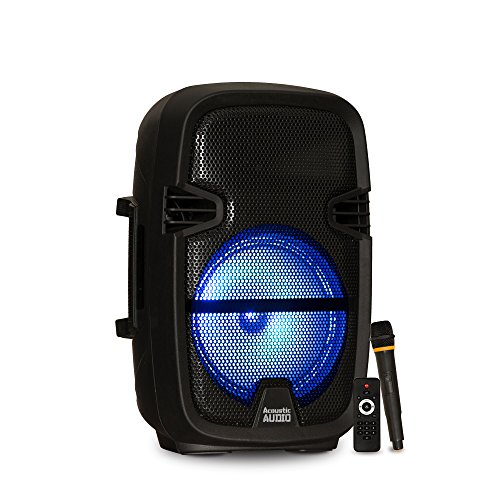 """Acoustic Audio by Goldwood Powered Speaker Cabinet, Battery 8"""" Bluetooth LED Display and Wireless Mic (PRTY82)"""
