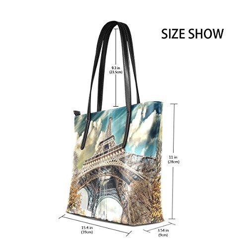 COOSUN Wunderbare Street View Of Paris Eiffelturm PU Leder Schultertasche Handtasche und Handtaschen Tasche für Frauen