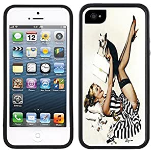 LJF phone case Pin-Up Girl Vintage Handmade iPhone 5C Black Case