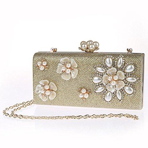 YYW Pearl Clutch Bag - Cartera de mano para mujer plata