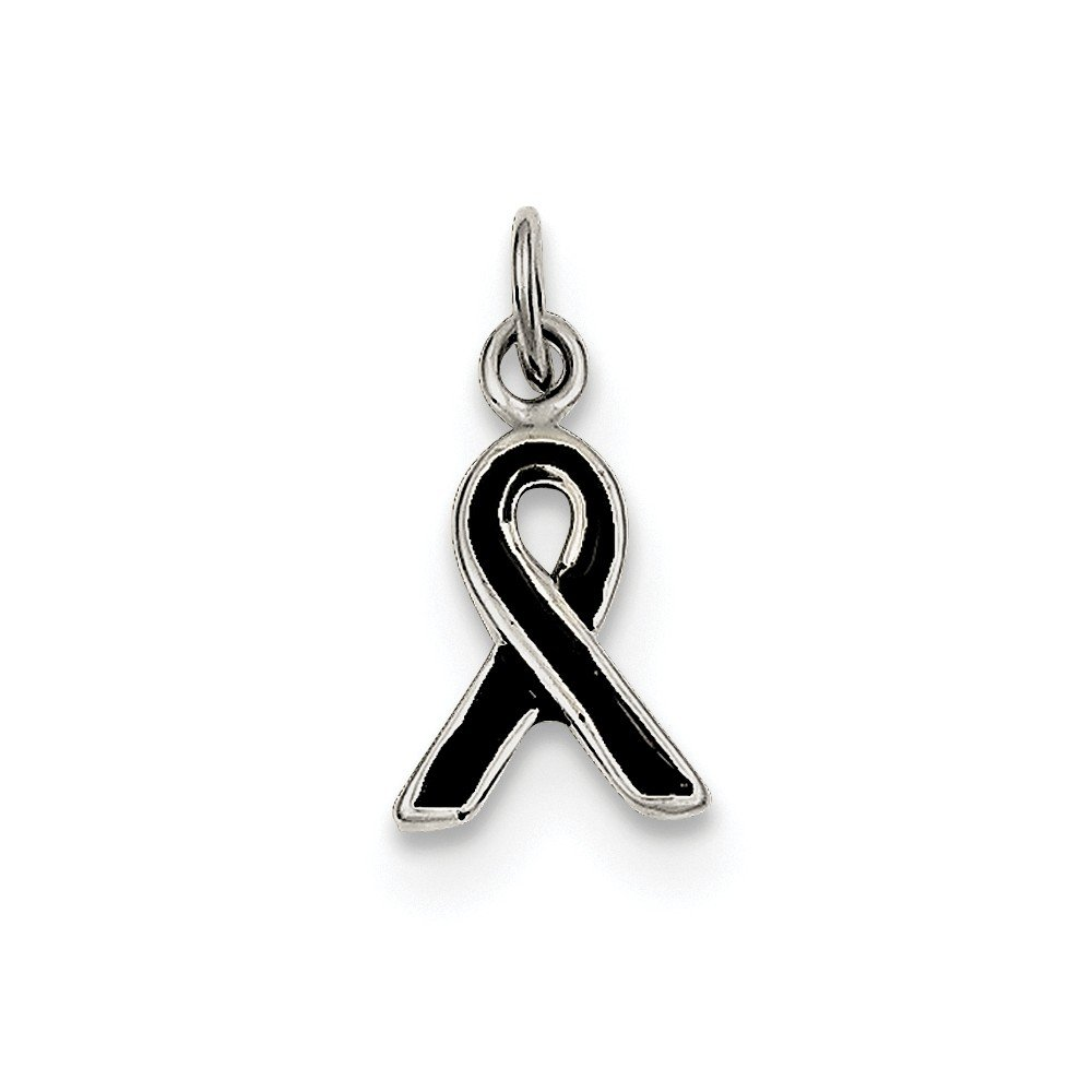 Sterling Silver Black Enameled Awareness Charm