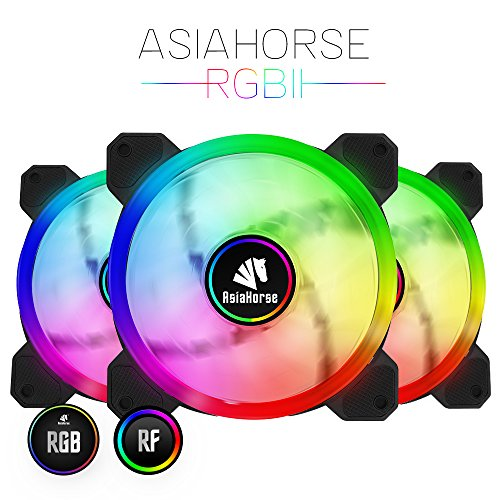 Asiahorse UFOII Wireless RGB LED 120mm Case Fan,Quiet Edition High Airflow Adjustable 100 Kinds of Chassis Fan Color, CPU Coolers,Radiators System(3PACK) by ASIAHORSE