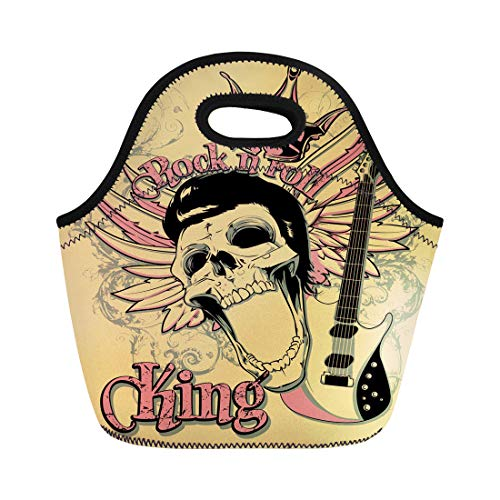 Semtomn Neoprene Lunch Tote Bag Skull Rock and Roll King Artistic Star Vintage Acoustics Reusable Cooler Bags Insulated Thermal Picnic Handbag for Travel,School,Outdoors, Work ()