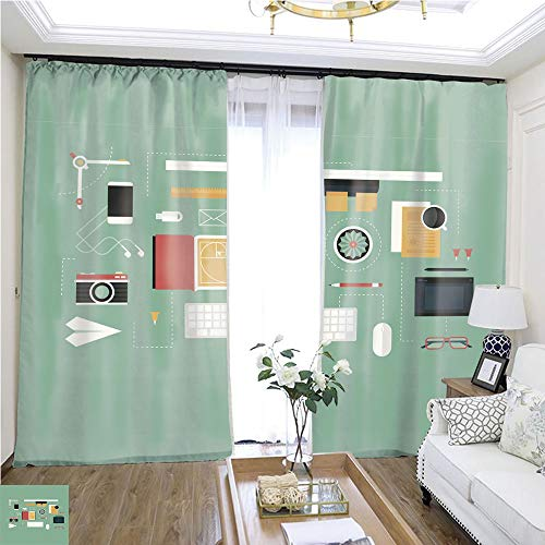 Cartoon Curtain Series Designer Desk Header W72 x L73 Living Room noisefree Ring top Curtain Highprecision Curtains for bedrooms Living Rooms Kitchens etc. ()