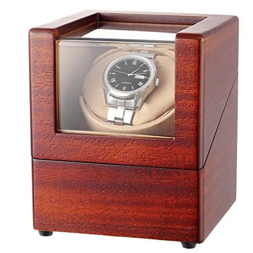 CHIYODA Single Wooden Watch Winder with Quiet Motor, Battery Powered Or AC Adapter-12 Rotation Modes (Brown)