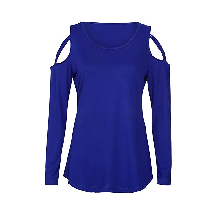 Camisas Mujer Tallas Grandes,❤ Modaworld Camiseta Mujer Hombro Descubierto Blusas para Mujer de Manga Larga Tops Blusa Camiseta sólida Señoras Otoño ...