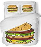 Emvency 3 Piece Duvet Cover Set Breathable Brushed Microfiber Fabric Red Macdonald Hamburger Burger American Beautiful Beef Box Bread Bun Cheese Bedding Set with 2 Pillow Covers Full/Queen Size