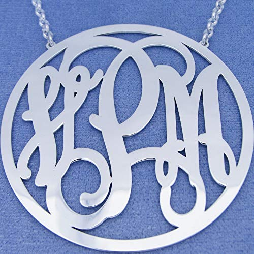 Monogrammed 3 Initials Extra Large 2.5 Inch Circle Monogram Necklace Sterling Silver - Monogram Silver 2.5 Inch