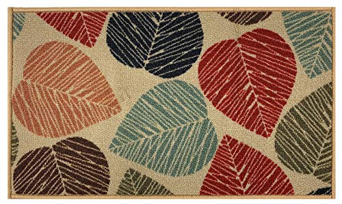 """RugStylesOnline Rubber Back Collection Doormat Mat with Slip Skid Resistant Rubber Backing for Kitchen Laundry Entry (Beige Multi Leaves, 18""""x30"""" Mat)"""