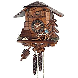 River City Clocks One Day Cuckoo Clock Cottage - Man Sawing Wood