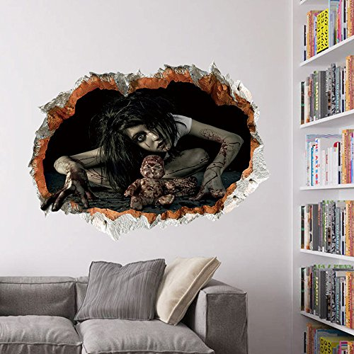 WOCACHI Wall Stickers Decals Happy Halloween Household Room Wall Sticker Mural Decor Decal Removable Terror Art Mural Wallpaper Peel & Stick Removable Room Decoration Nursery Decor]()