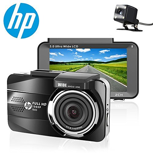HP Dual Lens Dash Cam for car Full HD 1080P Channel Front & Rear DVR Dashboard Camera Recorder,3.0'',Sony Sensor,Night Vision,WDR, Loop Recording, Parking mode by HP