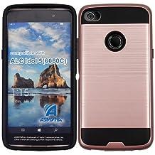 Alcatel Idol 5 Case, Alcatel Nitro 5 Case, BornTech Dual Layer Brushed Slim Shockproof Armor Protector Phone Case Cover (Black/Rose Gold)