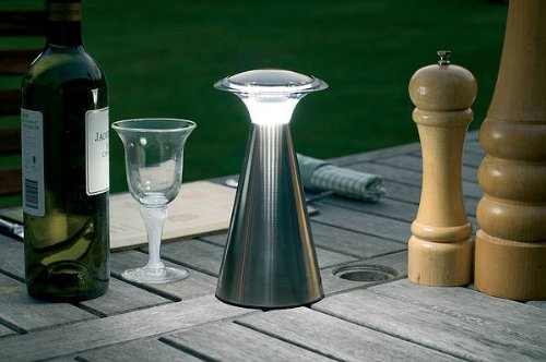 Light It! By Fulcrum, Lanterna, Wireless LED Touch Lamp, Battery Operated, Silver