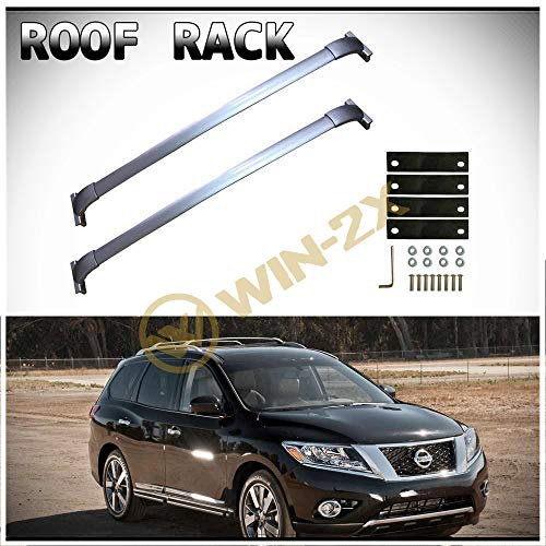 Bars Fits Factory - D&O MOTOR WIN-2X 2pcs New Silver Aircraft Aluminum Factory Style Cross Bars Roof Rack Cargo Carriers + Brackets + Mounting Hardwares Fit 13-17 Nissan Pathfinder