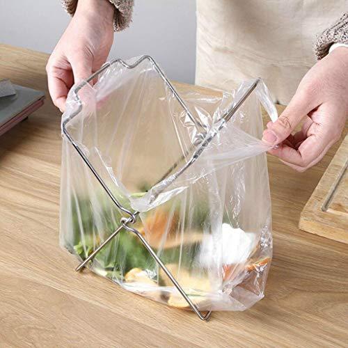 (AIUSD Stainless Steel Towel Garbage Bag Holder Door Rear Cabinet Kitchen Hanger)
