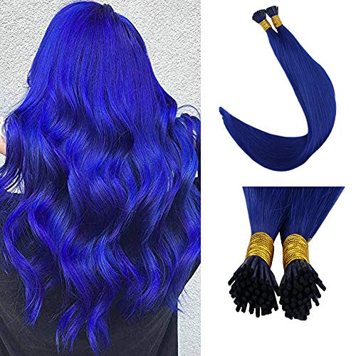 (Full Shine Remy Human Hair 16 Inch Keratin I Tip Human Hair Extensions Blue Color 0.8g Per Strand 40g Per Package Reheating Bead hair Extensions Cool Color 100% Remy Human)