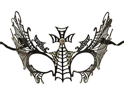 (Black Goth Cross Metal Mask Laser Cut Halloween Mardi Gras Costume Masquerade New Orleans Prom)