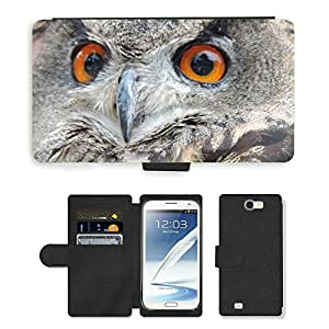 Super Stella Cell Phone Card Slot PU Leather Wallet Case // M00106646 Eagle Owl Bird // Samsung Galaxy Note 2 II N7100