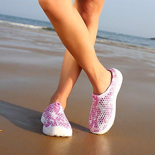 welltree Pantoffeln Frauen Sommer Loch Sandalen, Zu Fuß, Anti-Slip Beach Wasser Schuhe PinkWhite