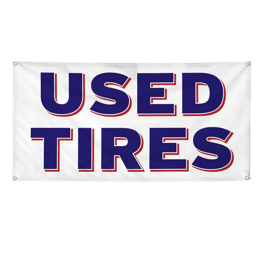Multiple Sizes Available One Banner Vinyl Banner Sign Used Tires Auto Car Vehicle Style K Marketing Advertising White 48inx96in 8 Grommets