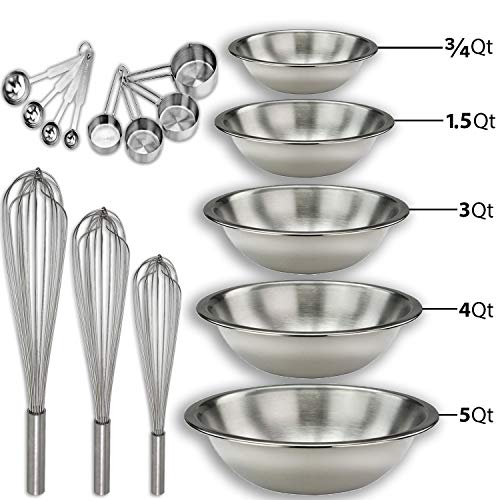 (Stainless steel Mixing Bowls Set and Baking Utensils Kit Includes: ¾, 1.5, 3, 4, and 5 Qt. Mixing Bowl + 10