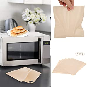 Yosoo Toaster Bags, 5PCS Reusable Non-Stick Pockets Heat Resistant Non Stick Bread Bags Sandwiches Pizza Heating Container Snack Pockets Microwave Toaster Oven Grill Safe