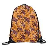 Drawstring Bag Africa Patterned Elephant - Orange Mens Sackpack Womens Sports Gym Sack Casual Backpack Yoga Dance Travel Bags