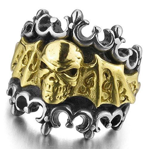 Skull With Wings (INBLUE Men's Stainless Steel Ring Silver Gold Tone Black Skull Bat Wing Knight Fleur De Lis Size12)