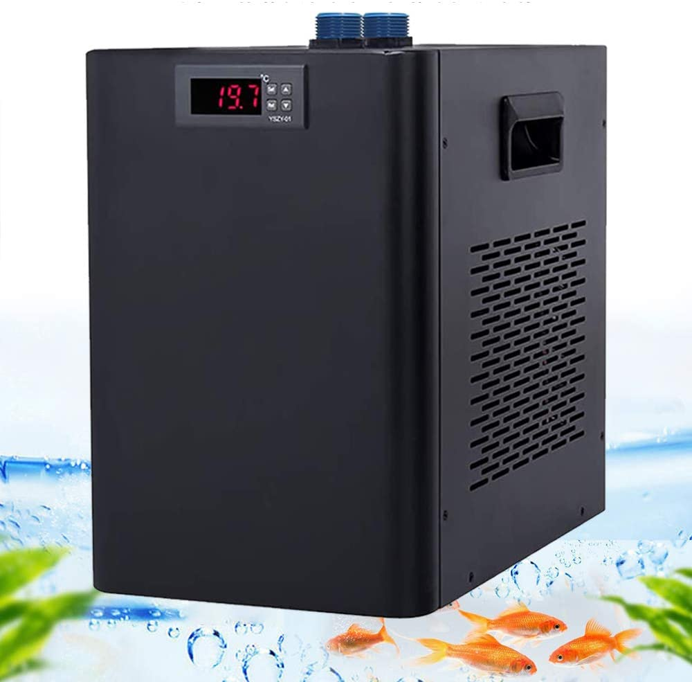 Amazon Com Poafamx Aquarium Water Chiller 26gal Fish Tank Cooling System 10 40 Temperature Setting Constant Quiet For Home Fish Market Coral Shrimp Farming With Pump 110v Transformer Chiller 100l 26gal Kitchen Dining