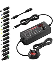 SHNITPWR Power Adapter 3V ~ 24V 2A 48W Universal Power Supply 3V 5V 6V 9V 12V 15V 18V 19V 20V 24V 1A 1.5A 2 Amps Adjustable AC to DC Adapter Converter Transformer with 14 Tips and Polarity Converter