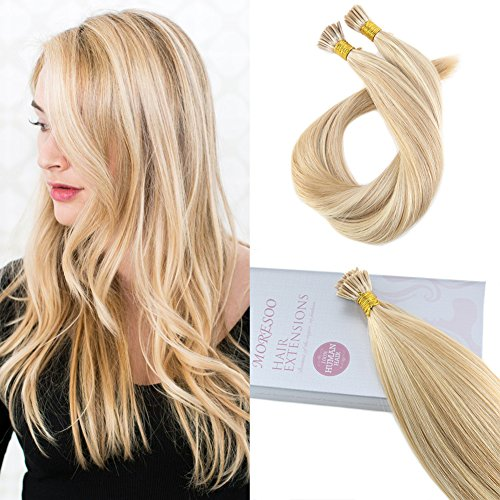 Moresoo 18 inch 50g Straight Keratin I Tip Hair Extensions Human Hair 100% Remy Human Hair Extensions Ombre Color Honey Blonde Highlighted with Bleach Blonde 1g/s 50 Strands 1g Honey