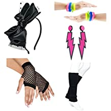 80s Fancy Outfit Costume Accessories Set,Leg Warmers,Fishnet Gloves,Earrings, Headband, Bracelet and Beads