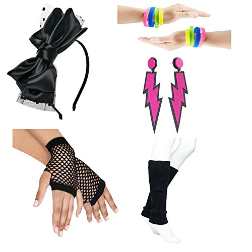 80s Fancy Outfit Costume Accessories Set,Leg Warmers,Fishnet Gloves,Neon Earrings and Bowknot Headband (OneSize, with Bracelet)