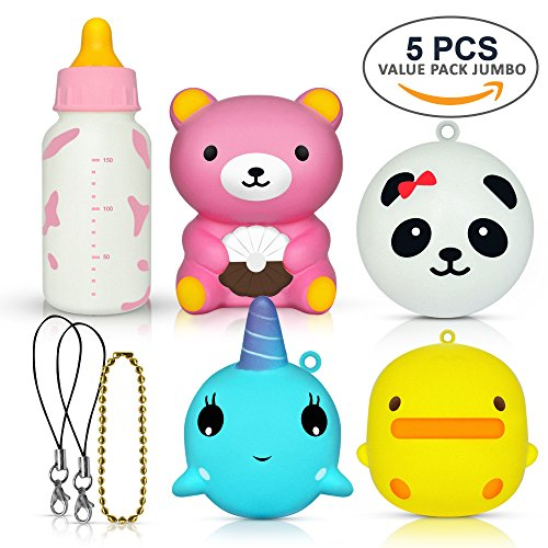 5 PCS Jumbo Squishies Value Pack – Super Cute Kawaii, Slow