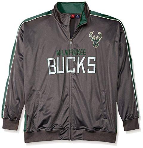 NBA Milwaukee Bucks Men's Reflective Track Jacket, 2X/Tall, Charcoal/Dark Green