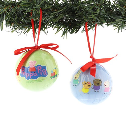 Peppa Pig Kurt Adler 2 piece Decoupage Ball Ornament Set Gift Boxed (Peppa Blue/Green) -